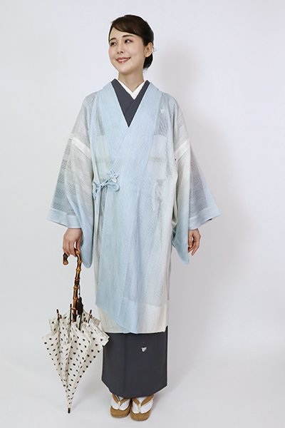 銀座【E-1427】紗 道中着 白色×水色 竪暈かし