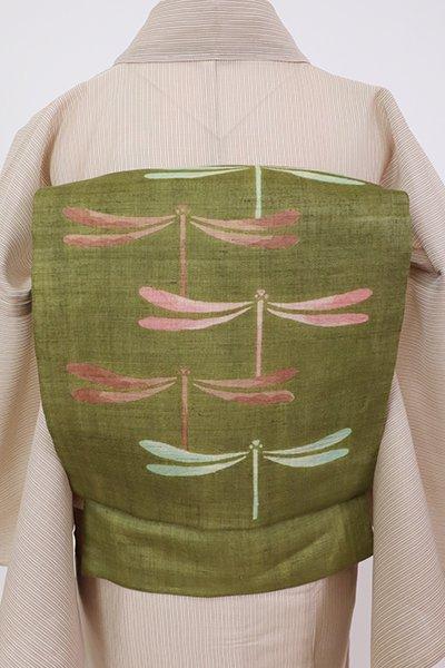 銀座【K-7583】麻地 染名古屋帯 海松色 蜻蛉の図(反端付)