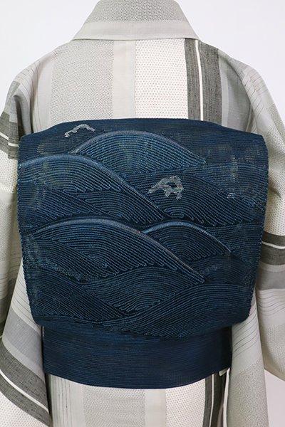 銀座【K-7584】紗 八寸織名古屋帯 留紺色 波文