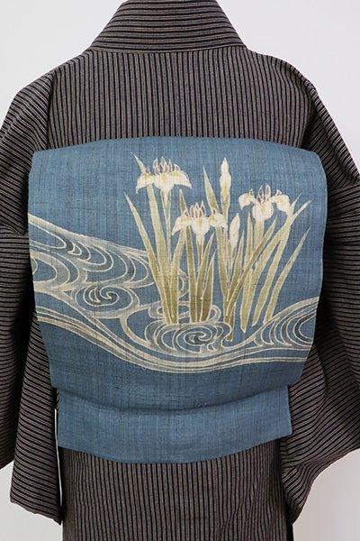 銀座【K-7586】麻地 染名古屋帯 薄縹色 流水に菖蒲の図
