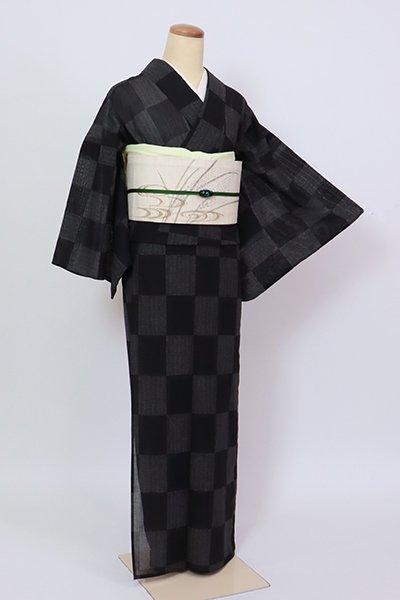 銀座【D-2839】きもの英製 薄物 小紋 黒色 市松文