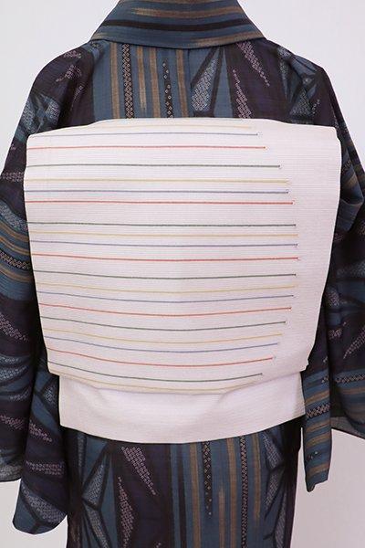 銀座【K-7588】絽 織名古屋帯 薄桜色 多彩な横段