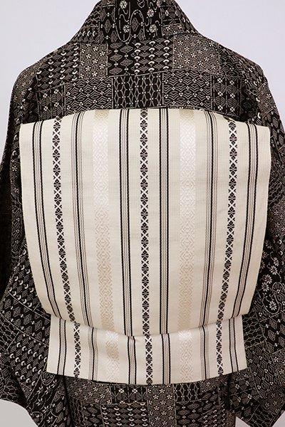 銀座【K-7590】博多織 紗献上  八寸開き織名古屋帯 鳥の子色