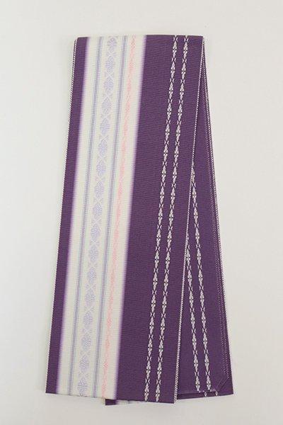 【G-1858】博多織 伊達締め 深紫色×白色(新品・証紙付)