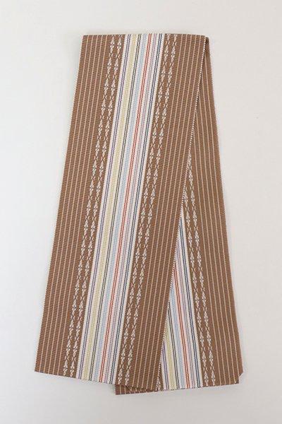 【G-1859】博多織 伊達締め 煎茶色×白色(新品・証紙付)