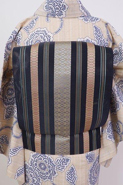 銀座【K-7599】博多織 八寸織名古屋帯 紗献上 青褐色
