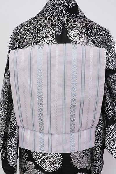 銀座【K-7603】博多織 紗献上 八寸名古屋帯 桜鼠色