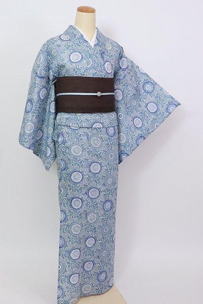 銀座【D-2842】綿麻 浴衣 淡い薄花色 菊唐草文