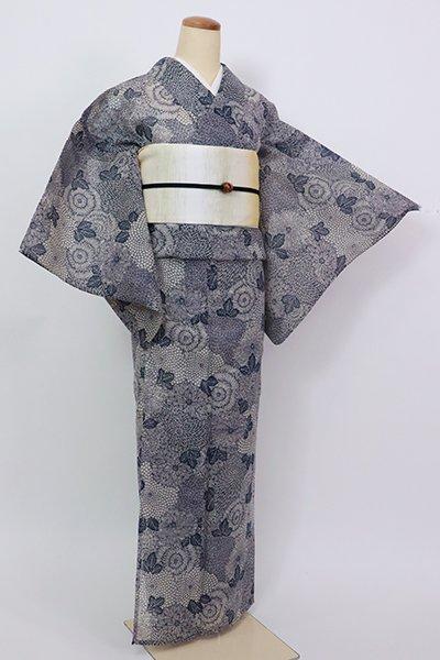 銀座【D-2843】(S)絹紅梅 浴衣 茶鼠色 菊の図