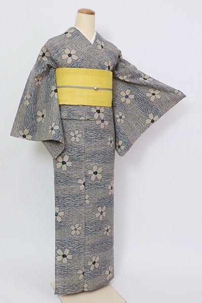 銀座【D-2844】竺仙製 浴衣 白茶色 桜の図(反端付)