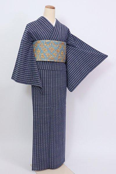 銀座【D-2846】竺仙製 木綿地 両面染め 浴衣 濃藍色 抽象文(反端付)