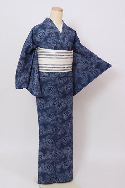 銀座【D-2847】竺仙製 木綿地 浴衣 留紺色 梅の図(反端付)