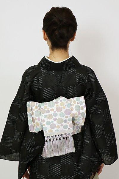 銀座【K-7568】博多織 半幅帯 白梅鼠色 水玉文