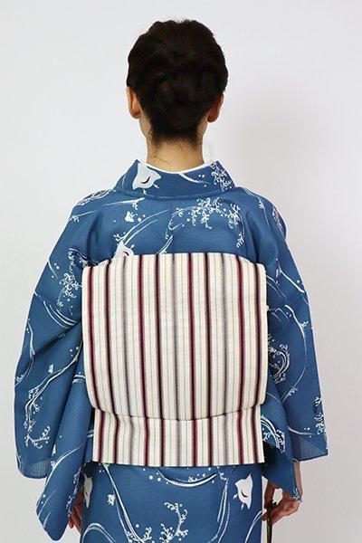 銀座【K-7581】紗 八寸織名古屋帯 練色 竪縞