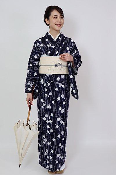 銀座【D-2831】(L・広め) 綿絽 浴衣 鉄紺色 柳に団扇の図