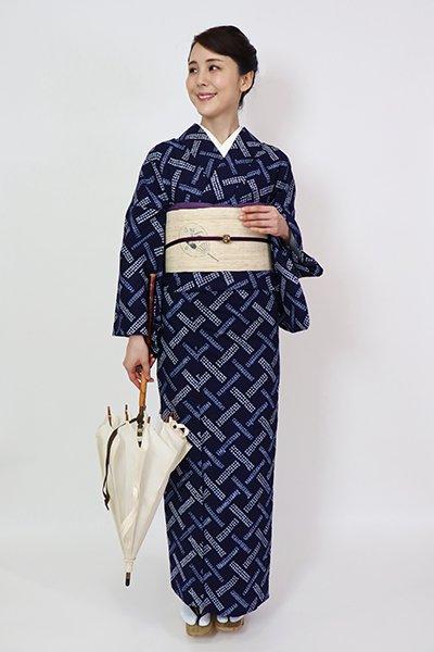 銀座【D-2834】木綿 絞り染め 浴衣 濃藍色 幾何文