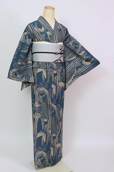 銀座【D-2853】(L)竺仙製 木綿地 浴衣 藍色 鯉の滝登り(反端付)