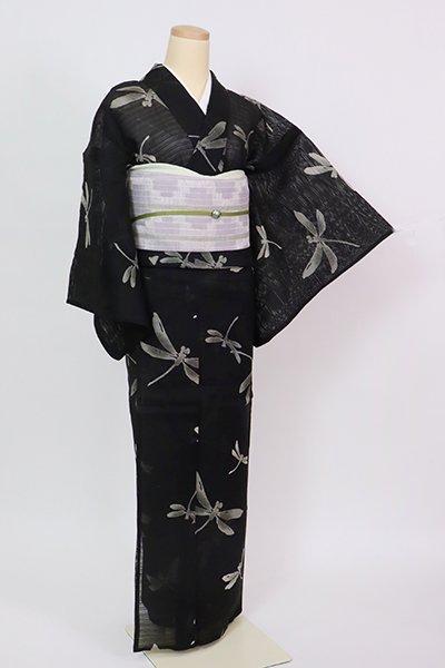 銀座【D-2854】(細め)綿絽 浴衣 黒色 蜻蛉の図