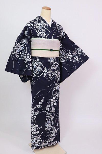 銀座【D-2855】木綿 浴衣 青褐色 団扇に撫子の図