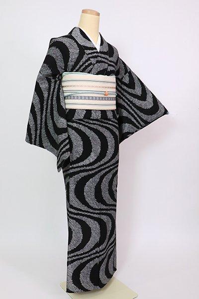 銀座【D-2856】木綿 絞り染め 浴衣 黒色 流線文