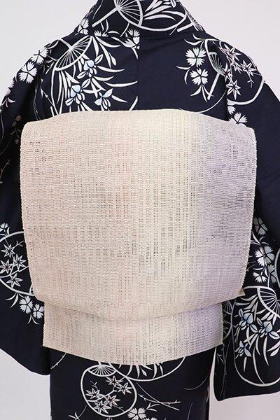 銀座【K-7611】麻絹 粗紗 八寸名古屋帯 薄色×練色×灰梅色 竪暈かし(長尺)