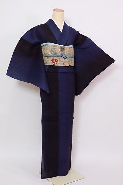 あおき【D-2858】綿麻 浴衣 濃藍色 竪暈かし
