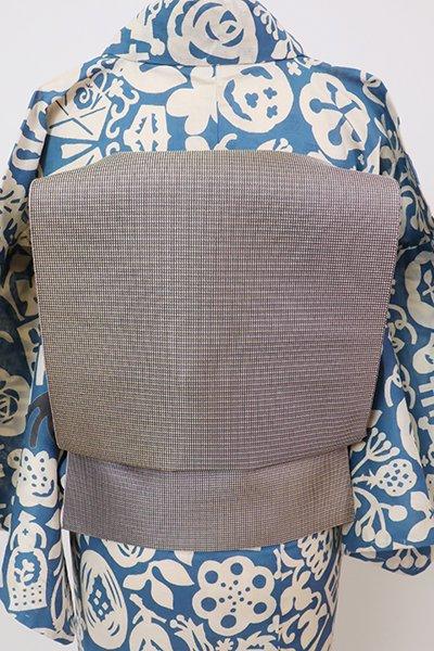 銀座【K-7618】紗 博多織 八寸名古屋帯 紫鼠色 斜め暈かし