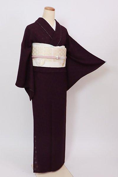 銀座【C-2132】(S)紋紗 色無地 似せ紫色 市松の地紋