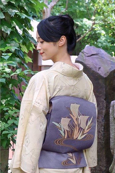 あおき【帯3928】西陣 河合美術織物製 絽袋帯 (端布付)