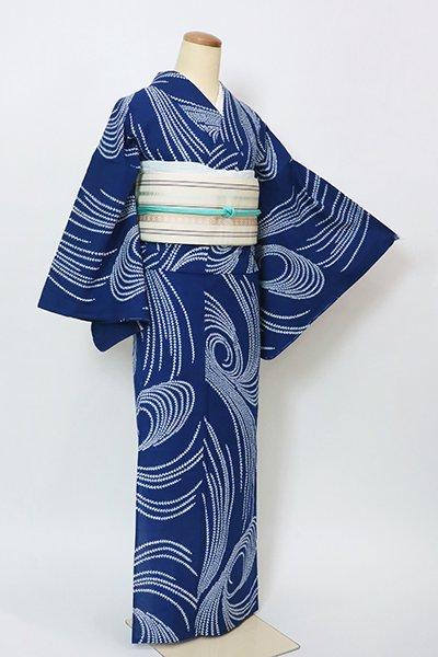 あおき【D-2867】竺仙製 木綿 浴衣 紺色 柳の図(紙札付)