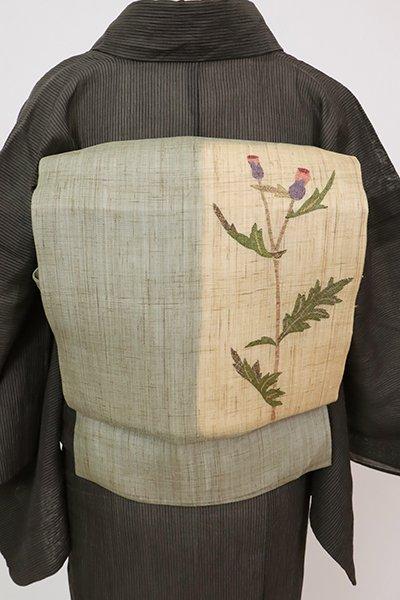 あおき【K-7626】生平麻地 染名古屋帯 利休色 薊の図