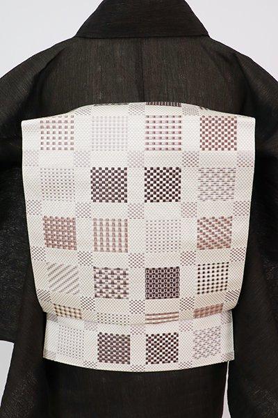 銀座【K-7637】本場筑前博多織 八寸織名古屋帯 象牙色 変わり市松文(証紙付)