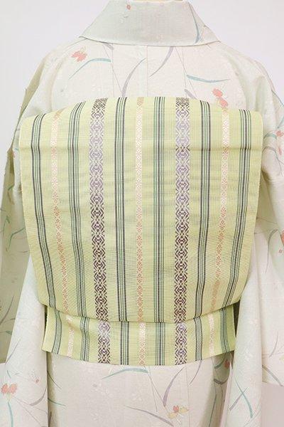 あおき【K-7640】本場筑前博多織 紗献上 八寸織名古屋帯 若菜色(証紙付)