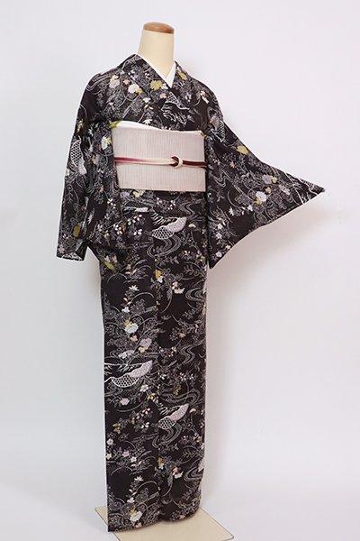 あおき【D-2871】紋紗 小紋 黒橡色 流水に秋草の図