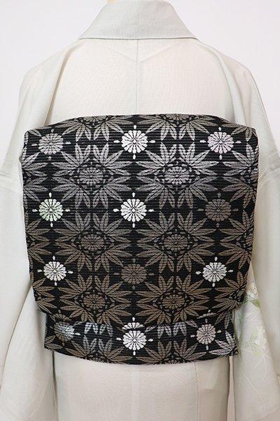 あおき【L-5733】絽 袋帯 黒色 笹と菊の図