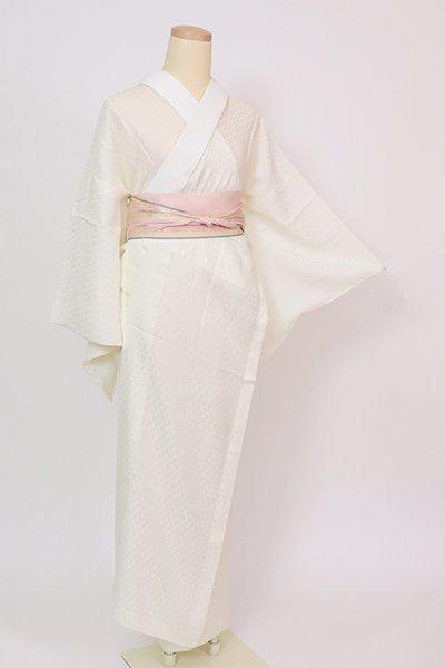 銀座【F-522】紋紗 長襦袢 淡い女郎花色 鱗文