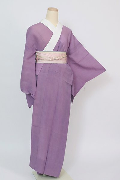 銀座【F-523】小千谷本麻上布 長襦袢 古代紫色 無地(反端付)