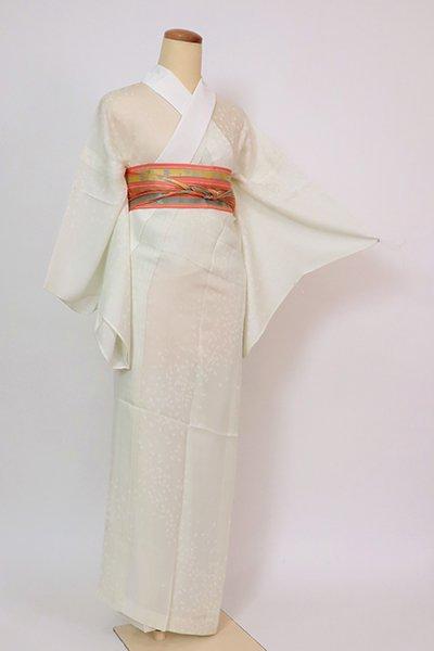 銀座【F-526】紋紗 長襦袢 淡い柳鼠色 桜の花弁の地紋