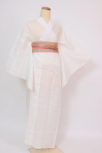 銀座【F-532】麻 紋紗 長襦袢 象牙色 流水に笹の図