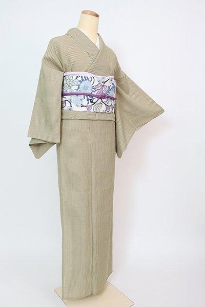 あおき【A-3399】単衣 紬 利休茶色 竪縞