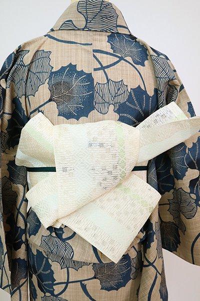 銀座【K-7647】本場筑前博多織 紗献上 半幅帯 象牙色(証紙付)(N)