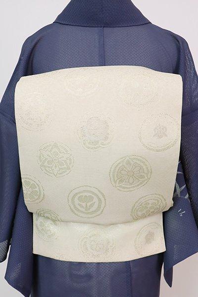 あおき【L-5736】紗 袋帯 練色×淡い青白橡色 丸文