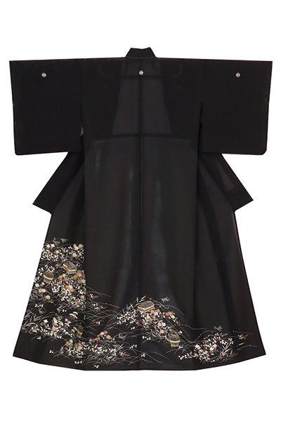 あおき【着物3214】染五ッ紋 絽 黒留袖 虫篭に秋草の図