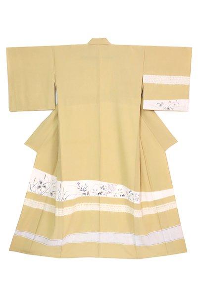 銀座【着物3217】単衣 訪問着 淡い木蘭色 絞り横段に秋草の図