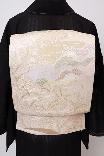 あおき【L-5743】紗 袋帯 灰梅色 地紙に秋草の図