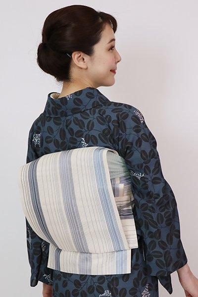 銀座【K-7628】博多織 紗 八寸名古屋帯 胡粉色 竪縞