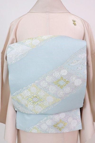 あおき【L-5753】西陣製 絽 袋帯 秘色色 斜め段に菱繋ぎ(証紙付)(N)