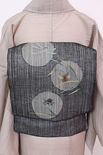 銀座【K-7673】夏 織名古屋帯 黒色 葦に虫の図