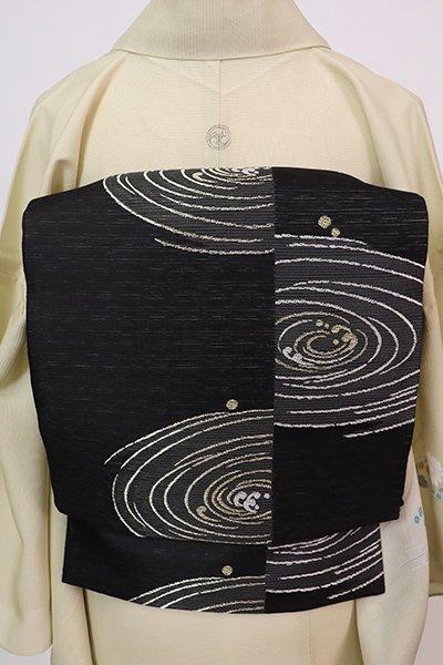 あおき【L-5755】変わり絽 袋帯 黒色 水紋