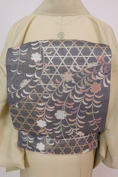 あおき【L-5756】紗 袋帯 鉛色 籠目に雪輪や柳の図